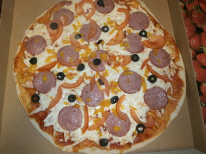 Pepperoni	 - tomato sauce, cheese, pepperoni, tomato, sweet pepper, olives